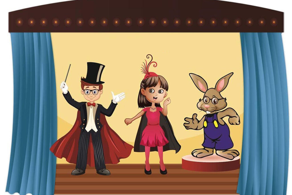 Image from the cover of the Dr. Optical activity books, featuring Dr. Optical, Miss Illusion, and C. Well Bunny
