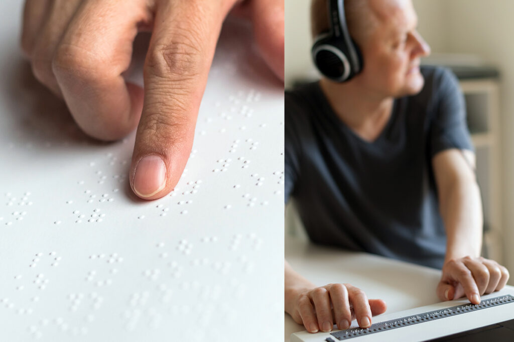 Photos that represent learning braille virtually