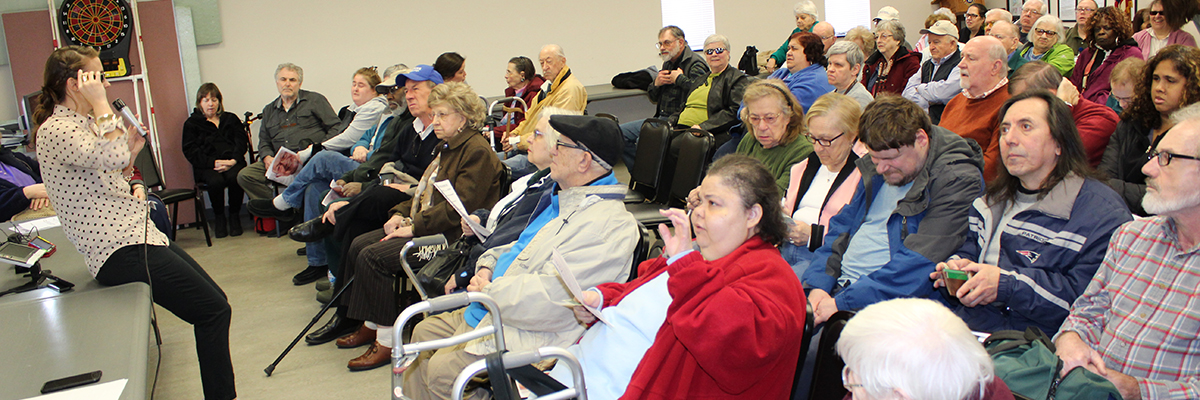 Picture of clients attending an information session on assistive technologies