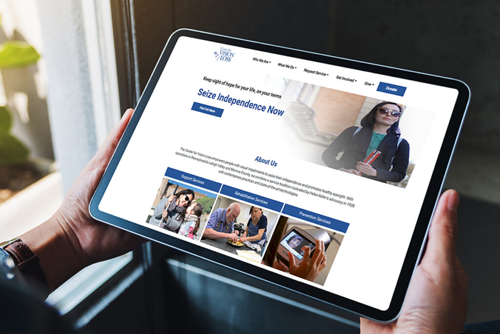 Rendering of the agency website on a tablet computer
