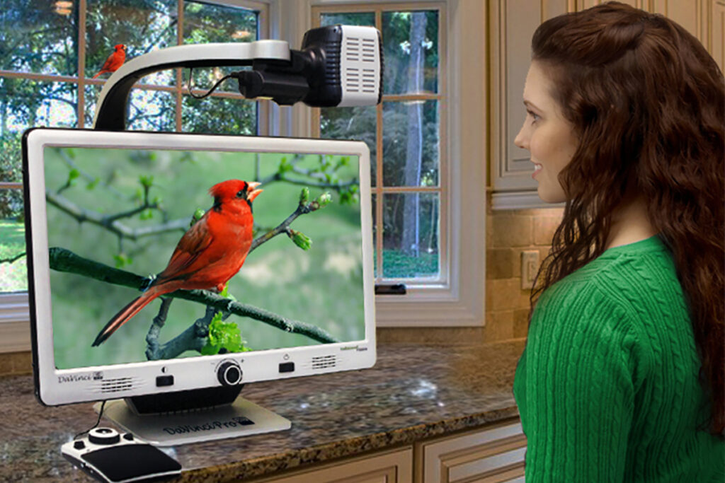 Photo of a woman looking at a bird through a digital magnifier