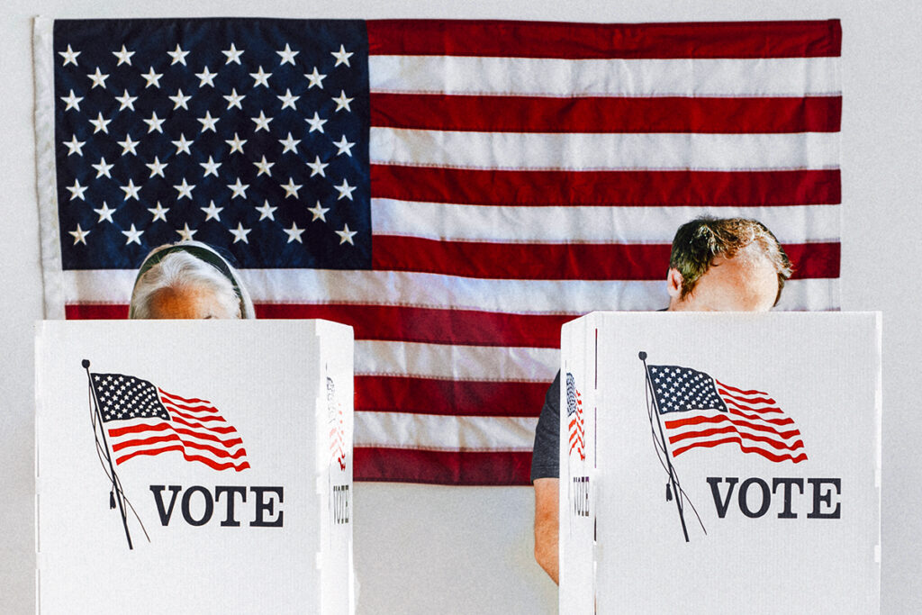Picture of two people voting