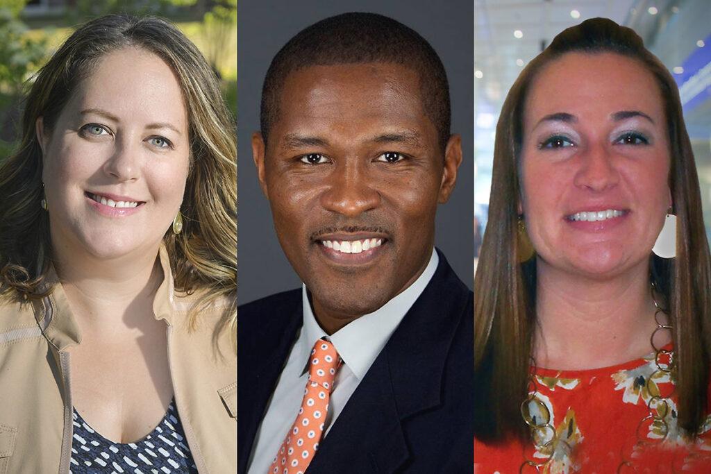 Headshots of agency board members Kate Raymond, DaWayne Cleckley, and Erin Pietrulewicz