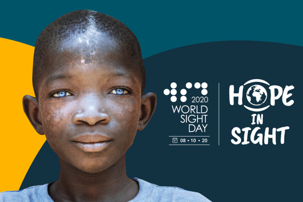 Photo of a young man along with the graphics for World Sight Day and the slogan Hope in Sight