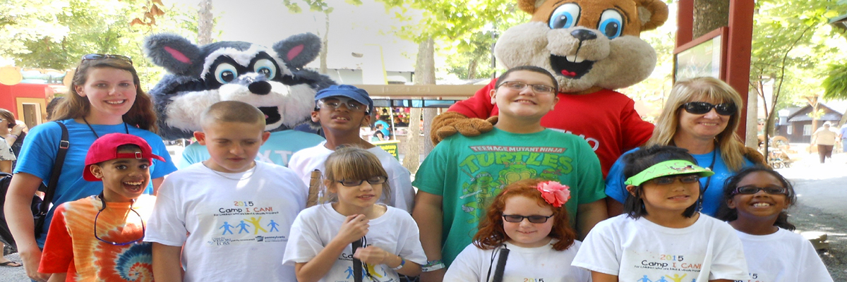 Photo of Camp I CAN! Kids at Knonbels Amusement Resort with story characters